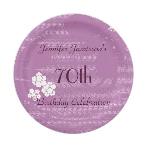 Purple Floral Paper Plates, 70th Birthday Party Paper Plate