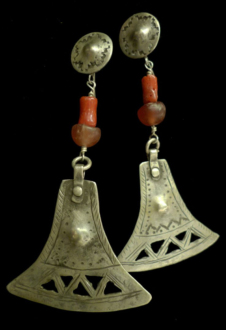 Earrings | Planta Nativa Designs.  Sterling silver with coral and amber