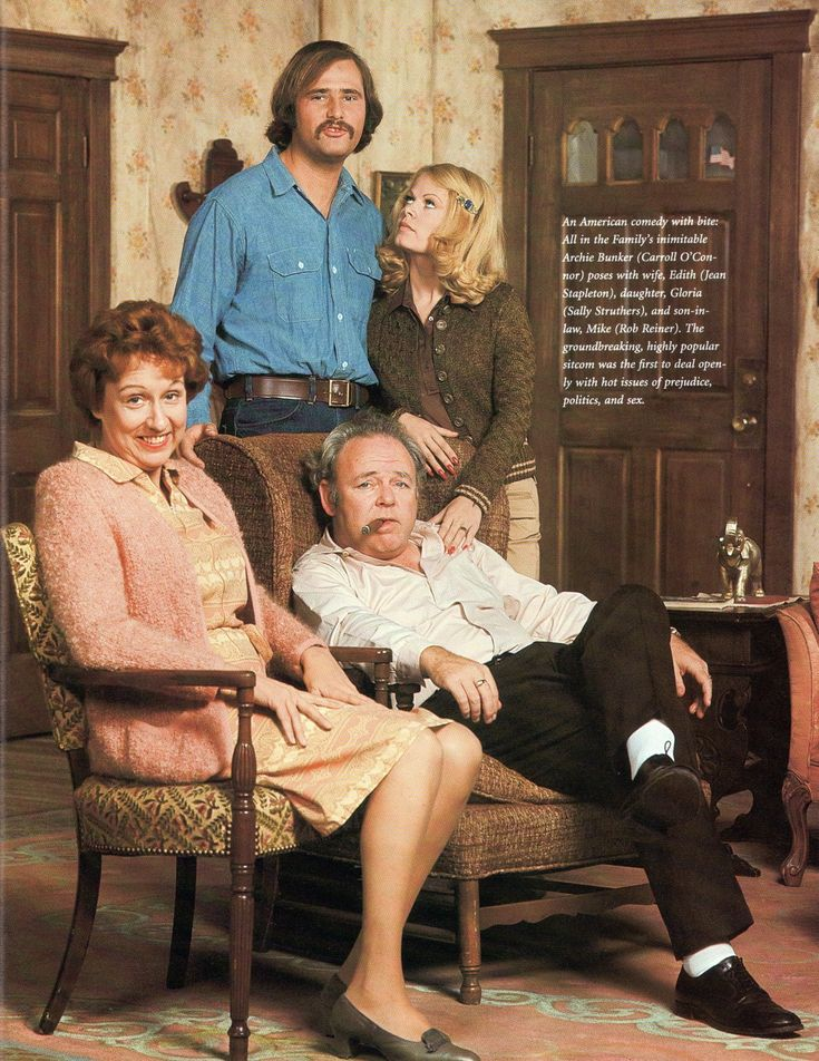 All in the Family (1971-1979) Rob Reiner as Michael, Carroll O'Connor as Archie Bunker, Jean Stapleton as Edith Bunker, and Sally Struthers as Gloria