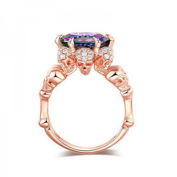 Jeulia Four Skull Rose Gold   Round Cut Creaed Rainbow Topaz Skull Ring