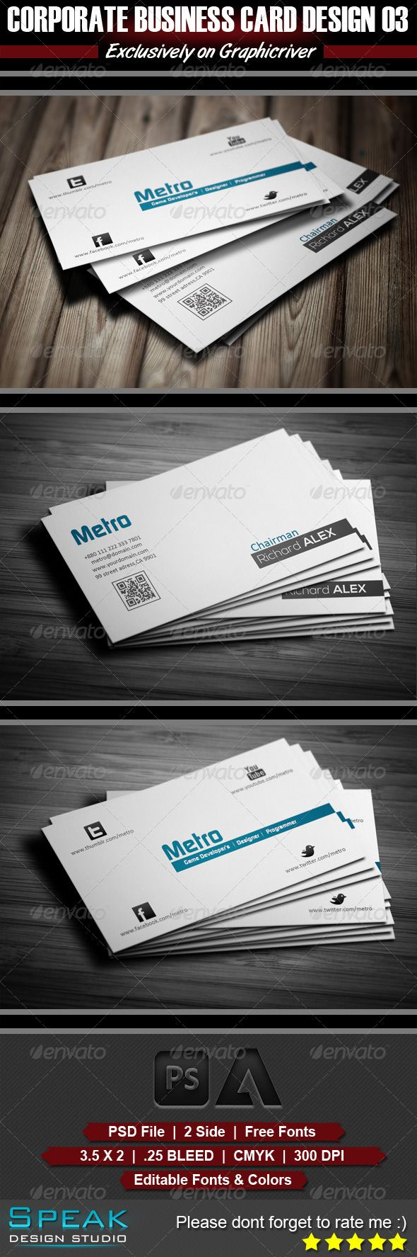 Creative Business Card Design 03 #GraphicRiver Creative Business Card Design 03 Type: Business or Personal use. 2 Sided Card easy to modify & Print Ready. Details: ? Fully Layered PSD files ? Fully Customizable and Editable ? CMYK Setting ? 300 DPI High Resolution ? Print Ready Format ? Horizontal Orientation ? Font Used Links: FontS: 1. Continuum: .dafont /continuum.font 2. Nexa: .fontsquirrel /fonts/nexa 3. Calibri: .fonts /font/microsoft-corporation/calibri/regular Files Included * 2 PSD…