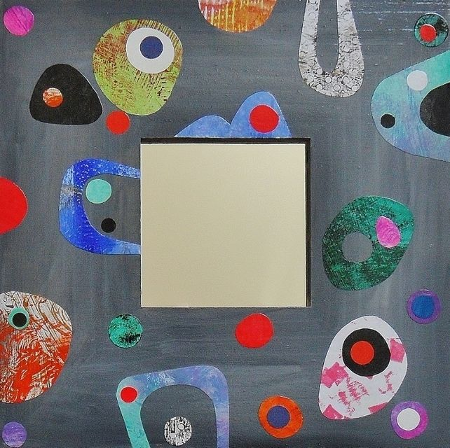 OOAK Mid Century Style Collage Wooden Pop Art Mirror Frame Grey Home Decor £28.95