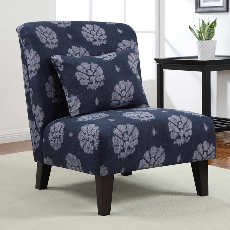 Jazz Up Any Room With This Comfortable Accent Chair The Legs Are Made Of Wood For Strength And Have An Espresso Finish That Perfectly Complements Blue
