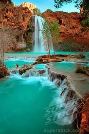Havasu Falls, AZ - Plunging over majestic red rocks and pooling into