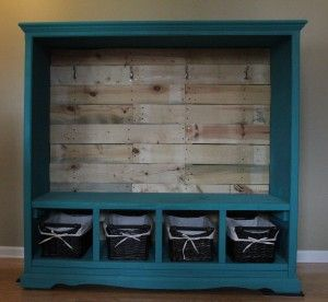 Hall Tree created from an old entertainment center.