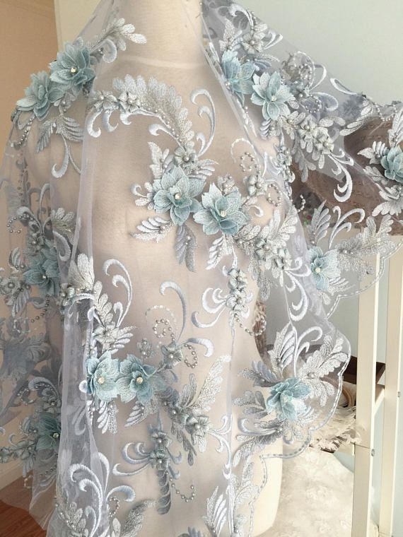 Lux 3D Pearl Beaded Blossom Floral Embroidery Lace Fabric in