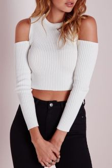 White Knit Long Sleeve Crop Top