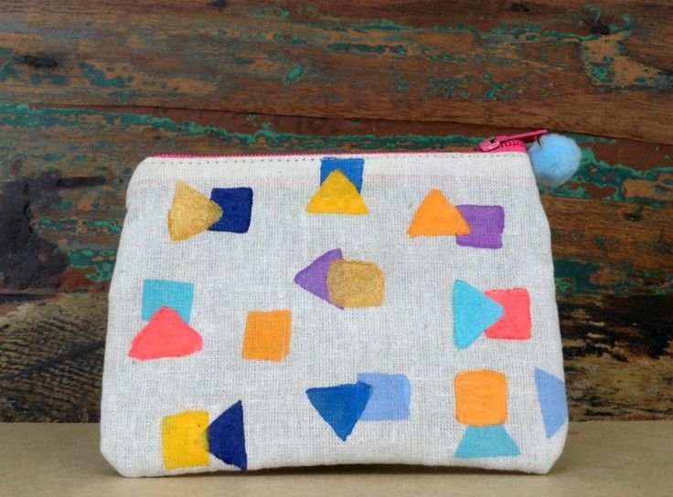 Pouch - Handmade Pouch - Block Printed Pouch - Beige Cotton Pouch - Geometrical shapes Pouch - Squares and Triangles Pouch by UniqueLulu on Etsy