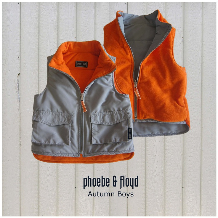 Grey & Orange Woven Lined Polar Fleece Reversible Sleeveless Jacket