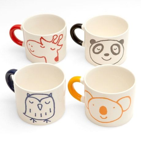 Animals Mug from PoketoCrafty Stuff, Kids Cups, Crafts Ideas, Coffe Cups Sharpie, For Kids, Creatures, Cute Animals, Ceramics Painting Kids, Coffee Mugs