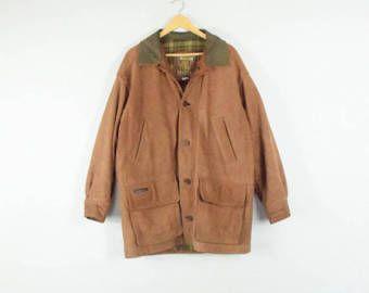 VESTE en cuir Grange / / taille moyenne des hommes / des années 90 des années 80 / manteau délavé / utilitaire / Suède / grunge classique / extérieur / tabac / vtg vintage