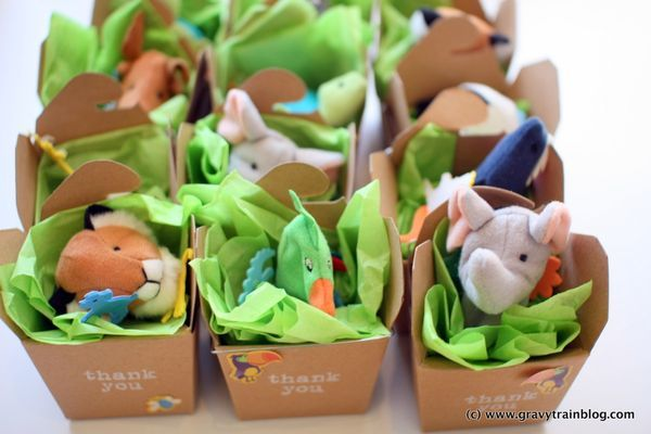 IKEA TITTA DJUR finger puppets make great party favors for an animal safari party when tucked into kraft paper takeout boxes. Great idea. My kids have these puppets and live them