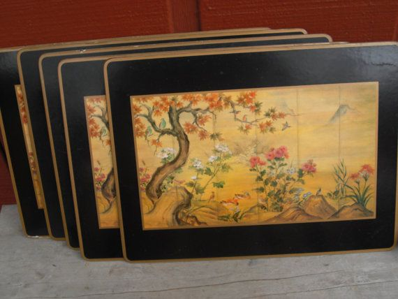 5 Pimpernel Chinese Placemats Japanese by littleredbohobarn