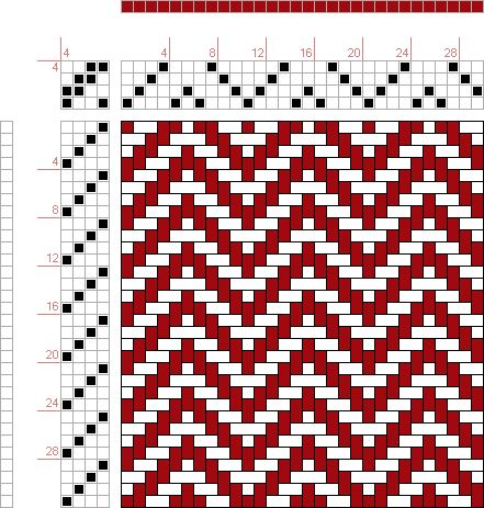 Weaving Draft Forward, Figure 23, Donat, Franz Large Book of Textile Patterns, Germany, 1895, #32094