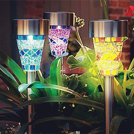 3Pack Mosaic Solar Lights Outdoor Sogrand 3 Color Mosaic Lens Solar Garden Lights,Solar Pathway Lights Solar Walkway Lights Solar Path Lights Solar landscape lights | Stylish Home Decor Products