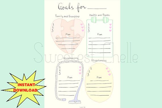 Cute Printable A5 Page Monthly Goals Yearly by SweetestChelle