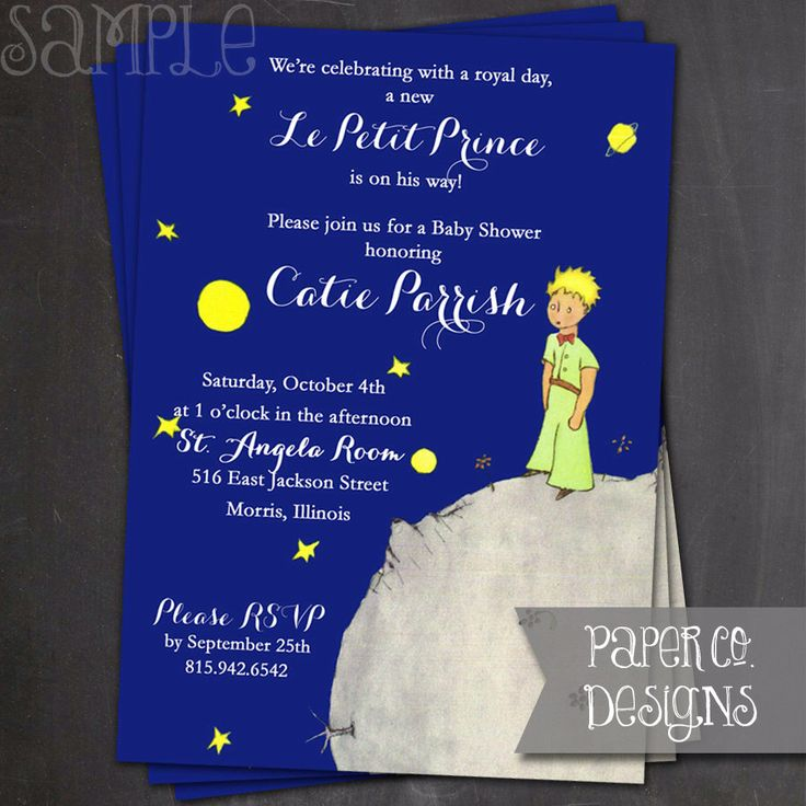 Printable Le Petit Prince - The Little Prince Baby Shower Invite - Digital File ONLY by PaperCoDesigns on Etsy https://www.etsy.com/listing/228109784/printable-le-petit-prince-the-little