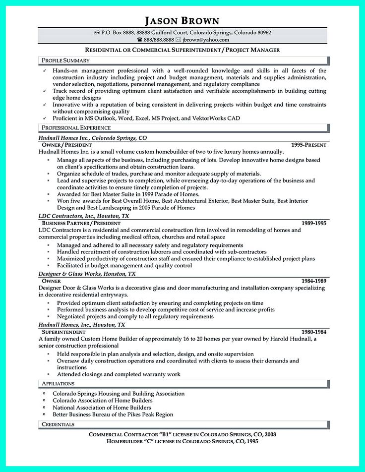 192 best resume template images on Pinterest Resume templates - superintendent resume