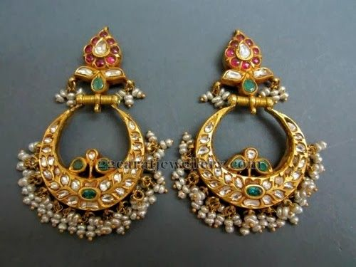 Jewellery Designs: Chandbalis with White Kundans