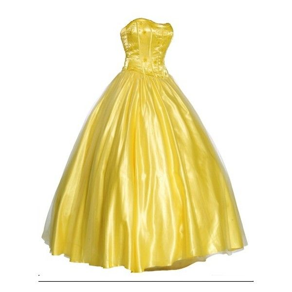 yellow ball gown ❤ liked on Polyvore featuring dresses, gowns, long dresses and belle