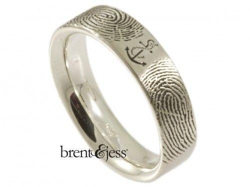 You Are My Anchor Fingerprint Wedding Ring - by Brent & Jess Custom Handmade Fingerprint Wedding Rings and Jewelry
