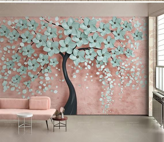 3d Tree Floral Wallpaper Big Tree Wall Mural Modern Wall Art Home Decor For Living Room Bedroom Entryway Cafe 3d Wall Murals Mural Wallpaper Wall Murals