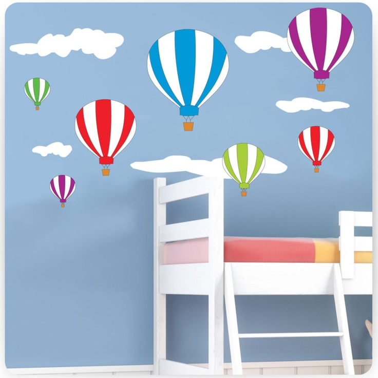extra large 90x140 cm £17 Childrens / Kids Bedroom Hot Air Balloons Wall Stickers (Girls Decal Baby) | eBay