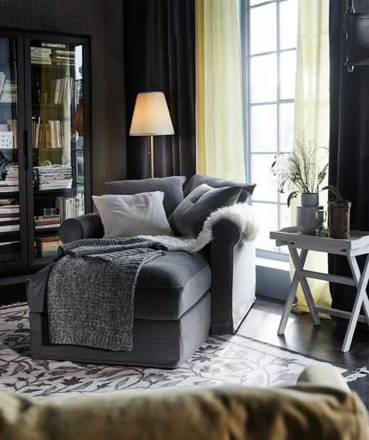 Curl up in a GRÖNLID chaise lounge with a Ljungen medium grey cover and cushions to place where you want them.