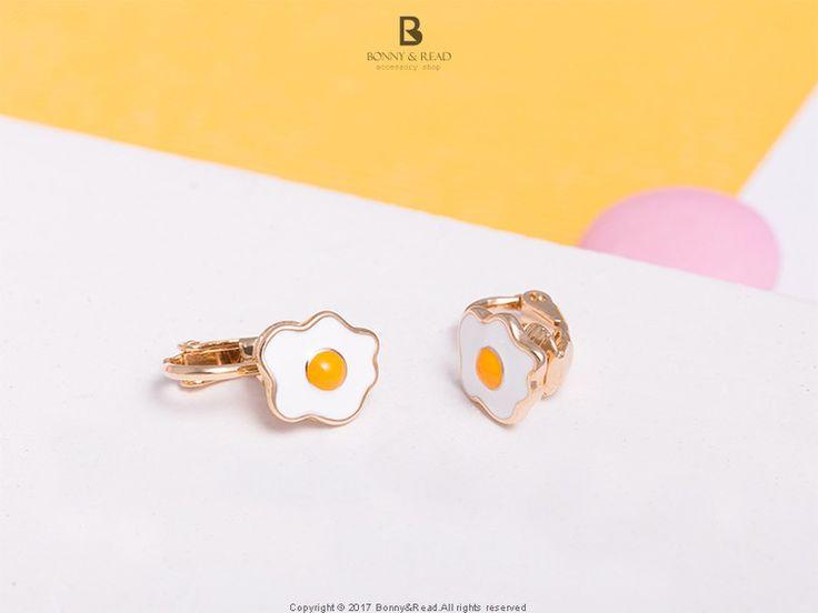 Bonny & Read 平價飾品 - [正韓] 美味荷包蛋夾式耳環  NT.171