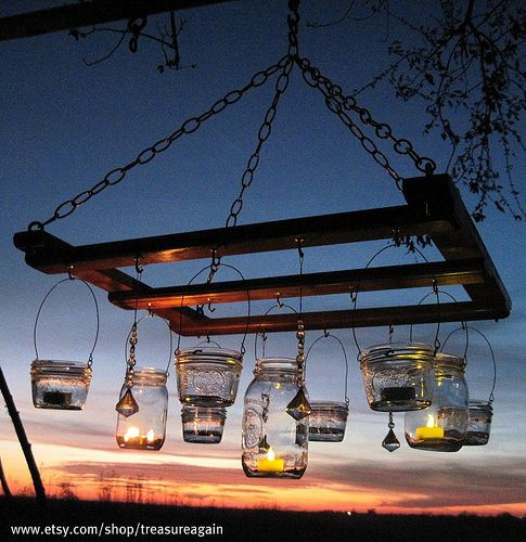 Mason Jar chandelier, candle by TreasureAgain, via Flickr