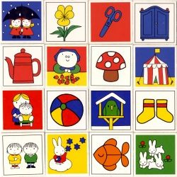 Dick Bruna Memory Game cards from 1981. Blast of colour and beautiful illustrations - even Miffy makes an appearance.
