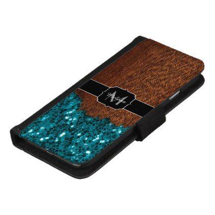 Aqua blue sparkles rustic brown wood Monogram iPhone 8/7 Wallet Case - wood gifts ideas diy cyo natural