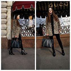 Alina  Ermilova - Pull & Bear Leopard Coat, Love Republic Black Bag, Zara Black Ankle Boots, Zara Black Skinny Pants - Leopard Coat