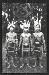 3-Dayak-Warriors-rppc-Sword-Costume-Borneo-Malaysia-30s