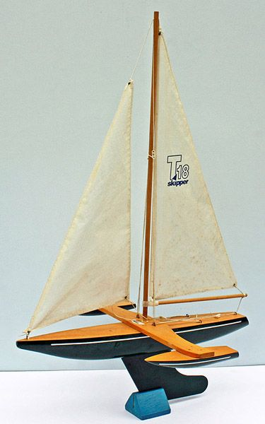 "An 18"" model trimaran sailing boat by Skipper Yachts."