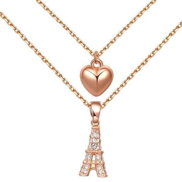 Pendant Tower Rose Gold Heart-Shaped Chain Necklace