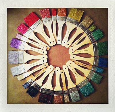 Color Wheel Paint Brush Wreath But Do With Brushes That Were Actually