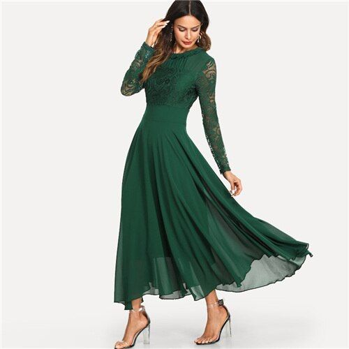 Green mesh lace panel sleeve dress women solid trim pleated maxi dresses spring high waist a line dress