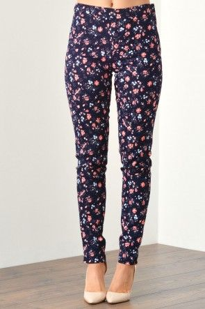 Karin Floral Skinny Pants in Navy and Peach