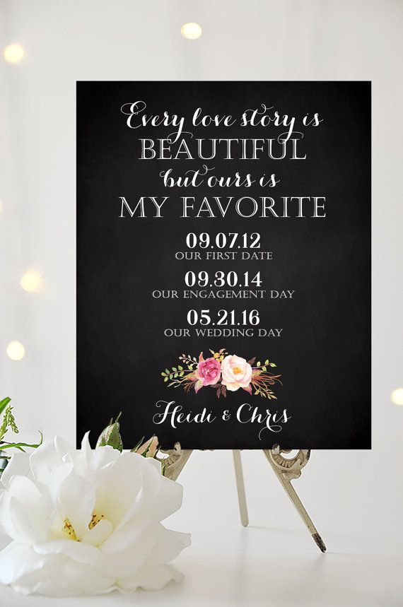 Our Love Story Wedding Sign 8 X 10 Or 11 By Charmingendeavours