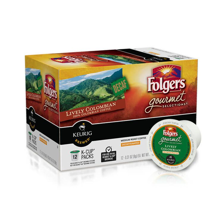 Package of Folgers Lively Colombian Decaf K-Cups