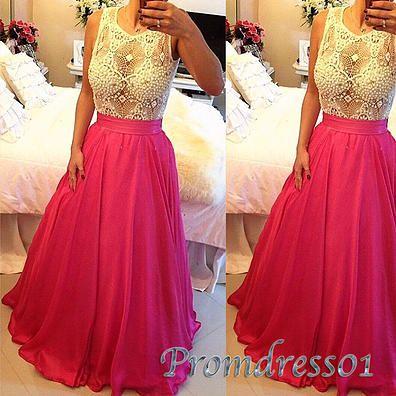 Beaded long prom dress, hot pink chiffon evening dress for teens #coniefox #2016prom