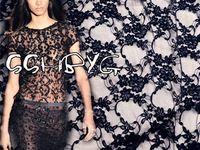 Черный эластичная ткань цветочный французский сетка кружевной ткани для костюм дизайн 150 см в ширину и метр