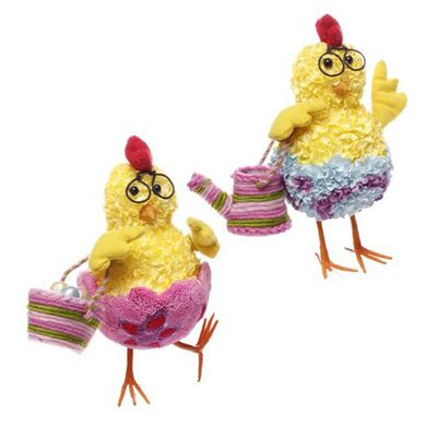 """RAZ Hydrangea Chick with Glasses Easter Decoration Set of 2  2 Asst Multicolored Made of Paper/Polyfoam Measures 9.5"""" X 9"""" X 5"""", 9.5"""" X 8"""" X 5"""" RAZ Exclusive  Whimsical standing yellow chicks...one with an Easter basket the other with a watering can.    See more whimsical RAZ Easter decorations at www.trendytree.com"""