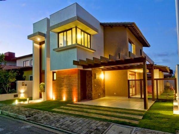 fachadas de casas modernas com paisagismo e iluminao ideas paragarage