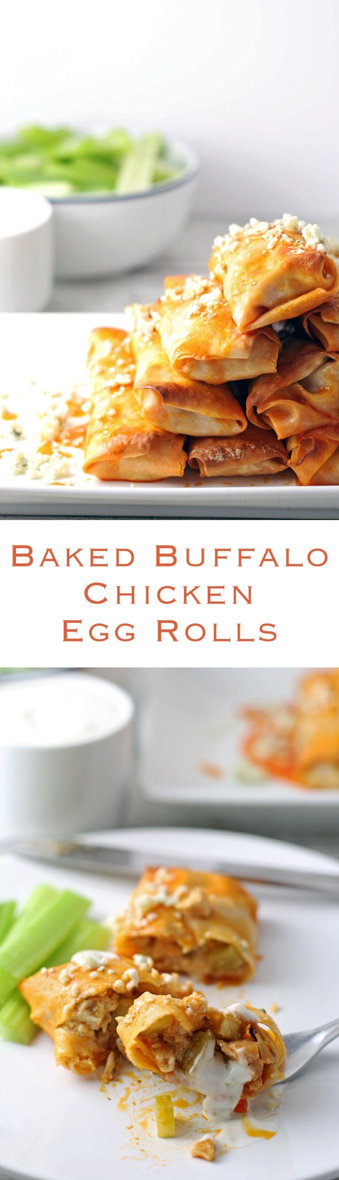 Baked Buffalo Chicken Egg Rolls - great as appetizers! | honeyandbirch.com