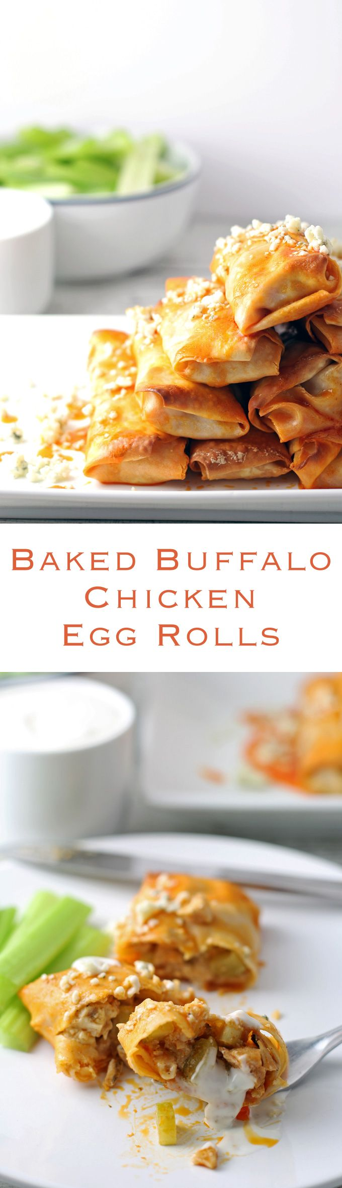 Baked Buffalo Chicken Egg Rolls - great as appetizers! | honeyandbirch.com