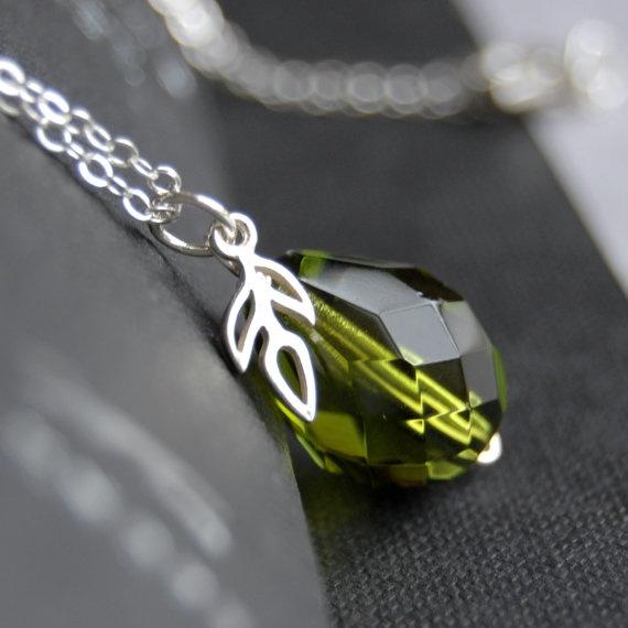 Beautiful olive glass pear drop pendant x