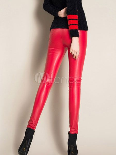 eefcb4bb135085 Women Red Pants 2018 PU Leather High Waist Sexy Leggings #PU, #Pants, #Women