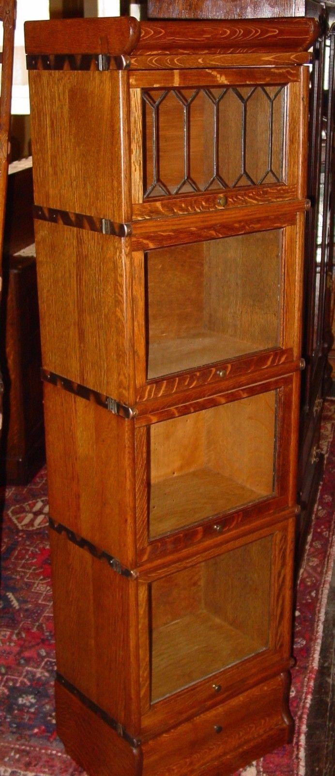 Cute Quartered Quarter Sawn Oak Half Size Barrister Bookcase Leaded Glass 15266   eBay